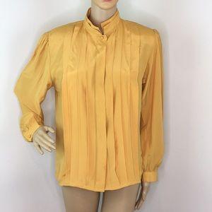 vintage golden button down long sleeve blouse